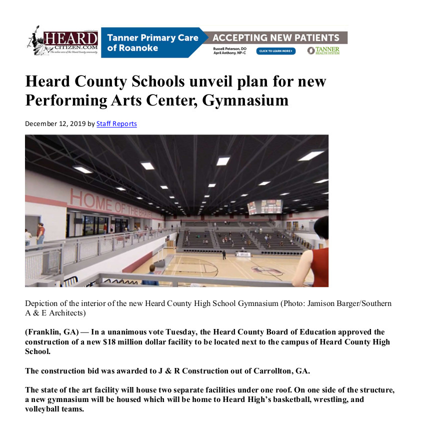Heard County Schools unveil plan for new Performing Arts Center, Gymnasium